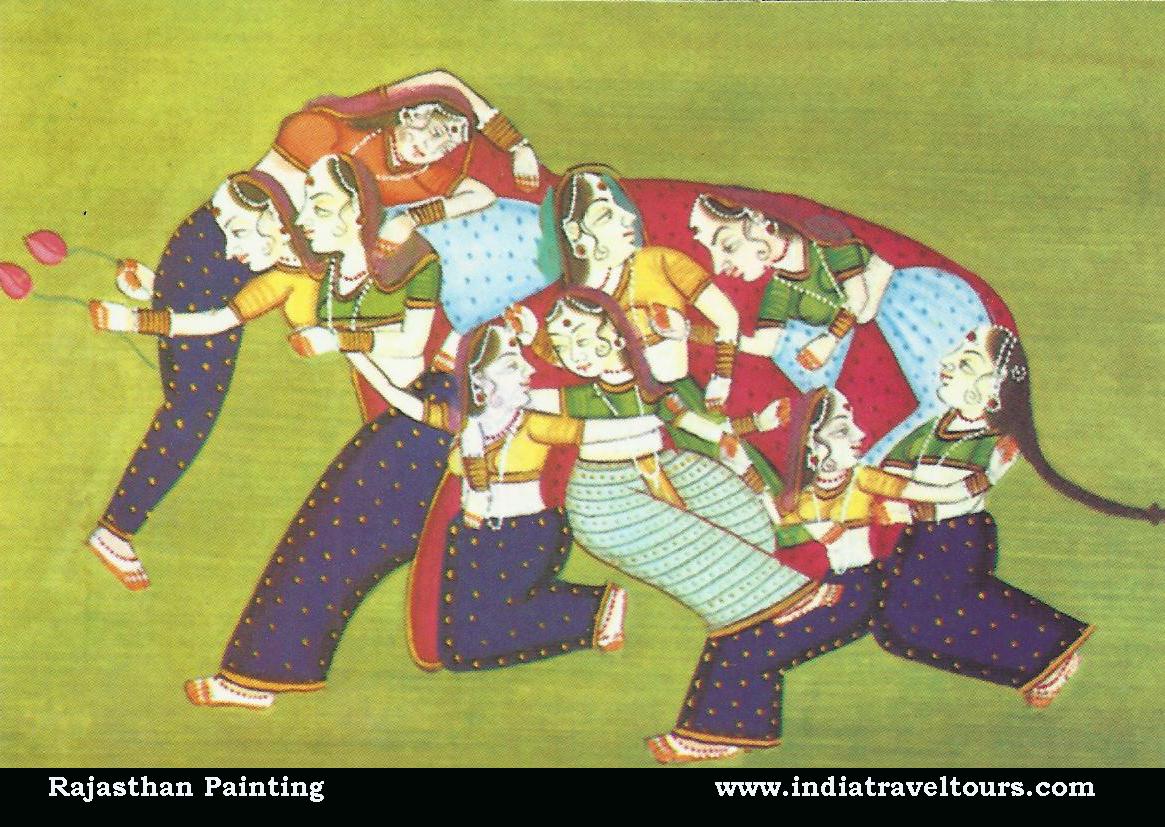 Beautiful Image of Elephant Painting of India