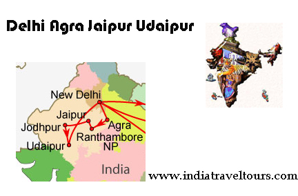 Map Golden Triangle Udaipur
