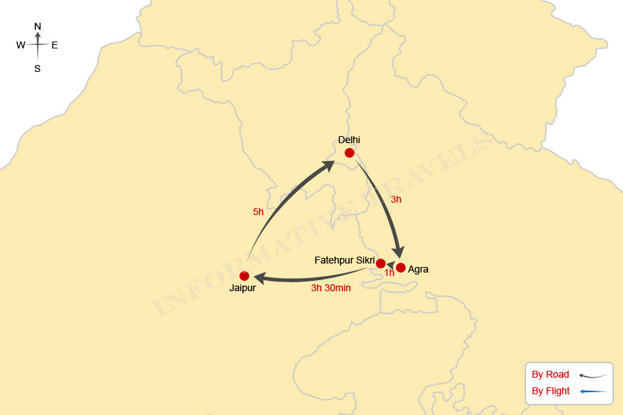 Map of Golden Triangle Tour