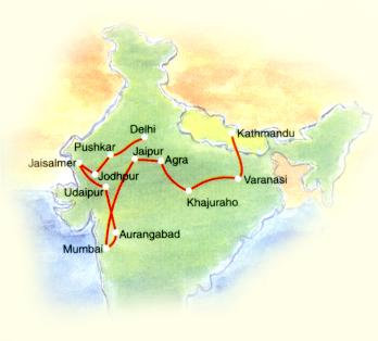 Tour to Mumbai North India Tour Map
